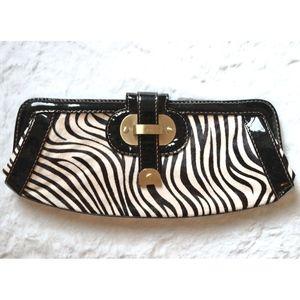 Rafe Zebra Long Frame Clutch
